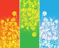 Flora banner three color royalty free illustration