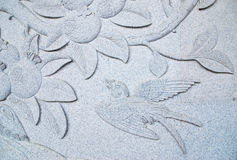 Flora and Bird Stone carving Stock Photography