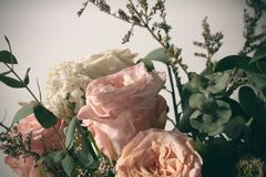 Flora cor-de-rosa da folha da flora da flor do vintage da flor com o suporte da decoração na tabela na manhã Imagens de Stock