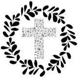 Flora Cross vector illustration with circle green leaf design. Decoration for Christianity artwork. Stock Photos