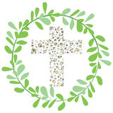 Flora Cross vector illustration with circle green leaf design. Royalty Free Stock Photos