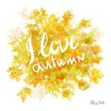 Flora de la hoja de arce de las hojas de otoño de la acuarela del vector Imágenes de archivo libres de regalías
