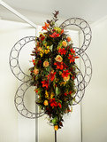 Flora Decoration. The colorful floral decoration on a metal stand stock images