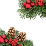 Flora di Natale e confine della bagattella Fotografia Stock Libera da Diritti