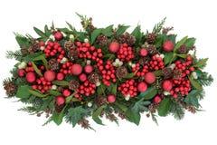 Flora e quinquilharias do Natal Fotografia de Stock