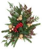 Flora e quinquilharias do Natal Fotografia de Stock Royalty Free