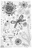 Flora e scarabocchi di fauna illustrazione di stock