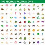 100 flora en fauna geplaatste pictogrammen, beeldverhaalstijl Stock Foto's