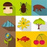 Flora en fauna geplaatste pictogrammen, vlakke stijl Royalty-vrije Stock Afbeelding