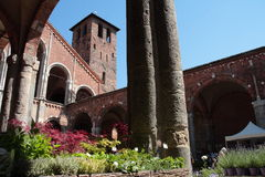 Flora et decora 2017. The Basilica of Sant`Ambrogio, in Milan, reopens its cloisters and gardens to flowers, greenery and everything that fascinates gardening Stock Photo