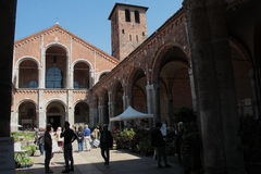 Flora et decora 2017. The Basilica of Sant`Ambrogio, in Milan, reopens its cloisters and gardens to flowers, greenery and everything that fascinates gardening Royalty Free Stock Images