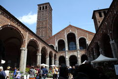 Flora et decora 2017. The Basilica of Sant`Ambrogio, in Milan, reopens its cloisters and gardens to flowers, greenery and everything that fascinates gardening Royalty Free Stock Image