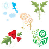 Flora and fauna. Set of  graphics on the theme of flora and fauna Royalty Free Stock Photography