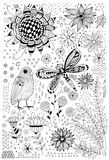 Flora and fauna doodles. Set of  hand drawn flowers, leaves, bird and dragonfly. Elements for design Royalty Free Stock Photos