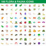 100 flora and fauna icons set, cartoon style. 100 flora and fauna icons set in cartoon style for any design vector illustration Stock Photos