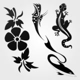 Flora and fauna pattern tribal set tattoo royalty free illustration