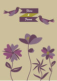 Flora and Fauna. The vintage flowers with birds.(Flora and fauna Royalty Free Stock Photo