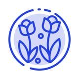 Flora, fiore, natura, Rosa, linea punteggiata blu linea icona della primavera illustrazione di stock