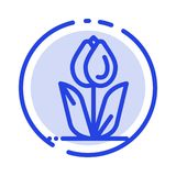 Flora, floreale, fiore, natura, icona di Rose Blue Dotted Line Line royalty illustrazione gratis