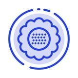 Flora, floreale, fiore, natura, linea punteggiata blu linea icona della primavera illustrazione vettoriale