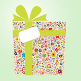 Flora gift box. Use colorful flora pattern to form a gift box stock illustration