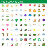 100 flora icons set, cartoon style Royalty Free Stock Image