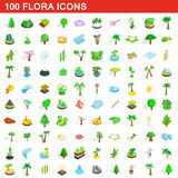 100 flora icons set, isometric 3d style Royalty Free Stock Photography