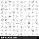 100 flora icons set, outline style Royalty Free Stock Photos