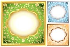 flora inramniner vektorn för den set fyrkanten Royaltyfria Bilder