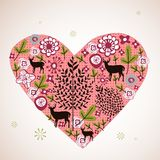 Flora love shape card Stock Image