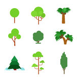 Flora plant green trees vector flat icon: pine fir palm spruce Stock Photos