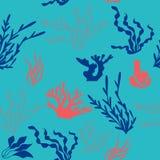Flora senza cuciture del modello degli oceani royalty illustrazione gratis
