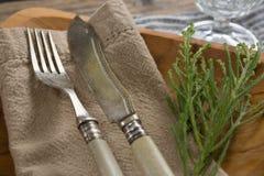 Flora, servett och bestick som är ordnade på plattan med tabelltorkduken Royaltyfri Foto