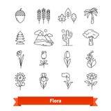 Flora thin line art icons set. Plants life. Flora thin line art icons set. Flowers, trees, plants life naturally occurring, botanical garden landscape. Linear Stock Photos