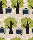Flora and TV vector pattern. Royalty Free Stock Image