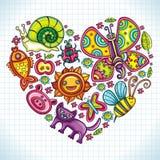 Flora y corazón del tema de la fauna. Imagen de archivo libre de regalías