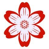 Floración simple de la flor del icono plano rojo del flor stock de ilustración