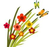 Floración y mariposas de la flor de la primavera -2 Imágenes de archivo libres de regalías