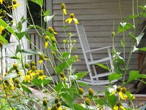 Floraciones y silla Imagen de archivo