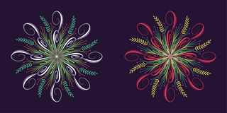 Floral épanouissez-vous l'ornement dans le style calligraphique illustration de vecteur