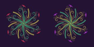 Floral épanouissez-vous l'ornement dans le style calligraphique illustration stock