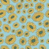 Floral άνευ ραφής σχέδιο με τα χρωματισμένα λουλούδια επίσης corel σύρετε το διάνυσμα απεικόνισης στοκ εικόνα
