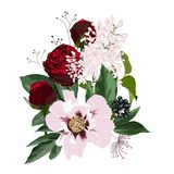 floral απεικόνιση, φύλλο και οφθαλμοί Βοτανική σύνθεση για το γάμο, ευχετήρια κάρτα απεικόνιση αποθεμάτων
