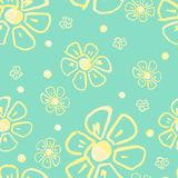 floral πρότυπο λουλουδιών άνε Μονοχρωματική απεικόνιση στο πράσινο υπόβαθρο διανυσματική απεικόνιση