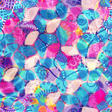 floral άνευ ραφής ανασκόπησης floral πρότυπο πουλιών Ελαφρύ ζωηρόχρωμο αφηρημένο σκηνικό Στοκ Εικόνες