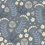 floral άνευ ραφής διάνυσμα προτύπων Λουλούδια Doodle στο σκοτεινό υπόβαθρο Στοκ Φωτογραφία