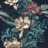 Floral άνευ ραφής διανυσματικό σχέδιο με τα λουλούδια και τη διακόσμηση Στοκ Εικόνες