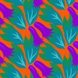 Floral άνευ ραφής διανυσματικό σχέδιο με τα λουλούδια κουδουνιών απεικόνιση αποθεμάτων