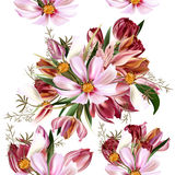 Floral άνευ ραφής διανυσματικό σχέδιο με τα λουλούδια στα realis watercolor Στοκ φωτογραφία με δικαίωμα ελεύθερης χρήσης