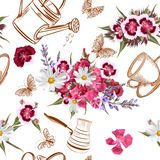 Floral άνευ ραφής διανυσματικό σχέδιο με τα λουλούδια στο ύφος watercolor Στοκ φωτογραφία με δικαίωμα ελεύθερης χρήσης